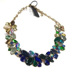 J Crew Blue Green Rhinestone Necklace NWT